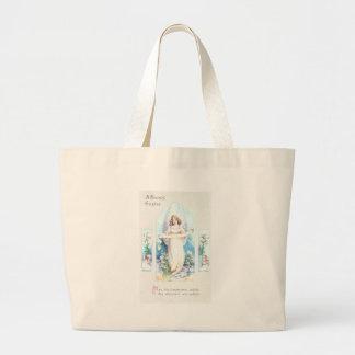 Angel and Cherubs Church Window Vintage Easter Jumbo Tote Bag
