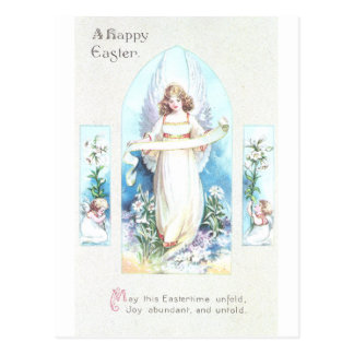 Angel and Cherubs Church Window Vintage Easter Postcard