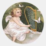 Angel and Harp Vintage Illustration Round Sticker