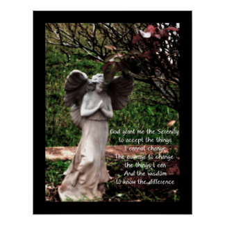 Angel and Serenity Prayer Poster