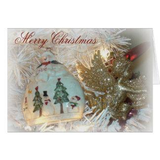 Angel and Snowman Sparkle Christmas Card