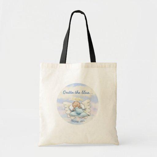 Angel baby boy tote bags
