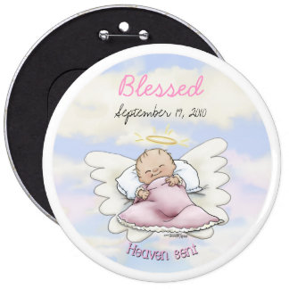 Angel Baby Girl - Heaven sent 6 Cm Round Badge