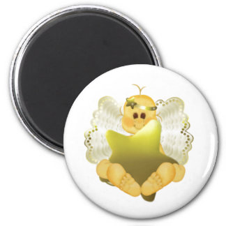 Angel Baby with Gold Star 6 Cm Round Magnet