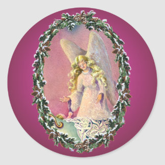 ANGEL, BABY & WREATH by SHARON SHARPE Classic Round Sticker