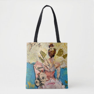 Angel ballerina with gold feathers tote bag