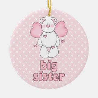 Angel Bear Big Sister Round Ceramic Decoration