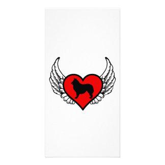 Angel Belgian Shepherd Dog Silhouette winged Heart Customised Photo Card