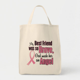 Angel BEST FRIEND Breast Cancer T-Shirts & Apparel Grocery Tote Bag