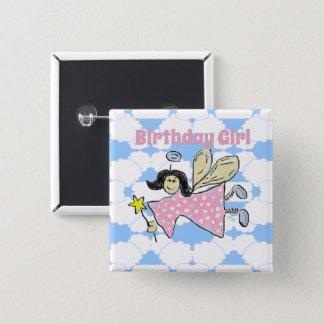 Angel Birthday Girl Button Badge
