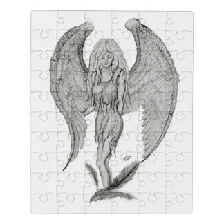Angel , Black and White design Jigsaw Puzzle