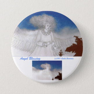 Angel Blessing Round Button Pin