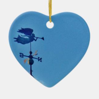Angel BLOWING HORN WEATHER VANE Ceramic Heart Decoration