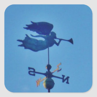 Angel BLOWING HORN WEATHER VANE Square Sticker