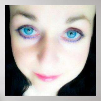 Angel blue eyes, girl beautiful angelic face print