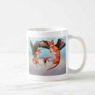 Angel Cat and Mouse Game Basic White Mug