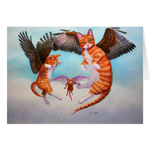 Angel Cat and Mouse Game Greeting Cards