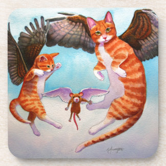 Angel Cat and Mouse Game Coasters