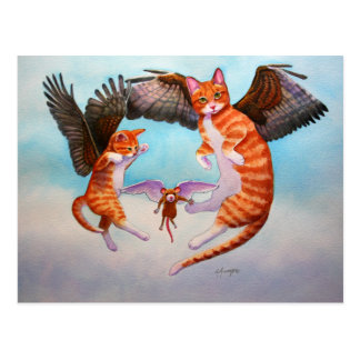 Angel Cat and Mouse Game Postcard