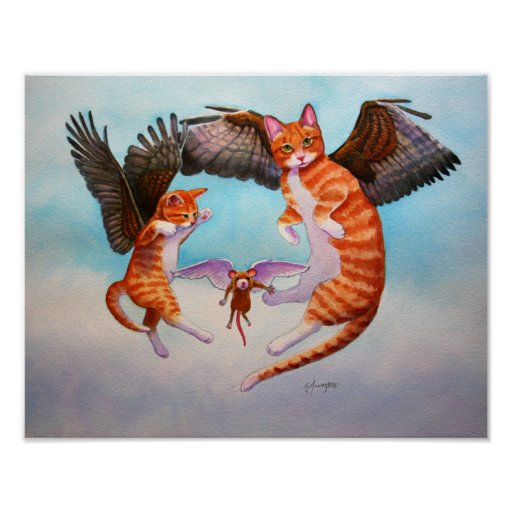 Angel Cat and Mouse Game Print