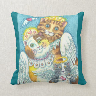 Angel Cat Family PURRS IN HEAVEN THROW PILLOW