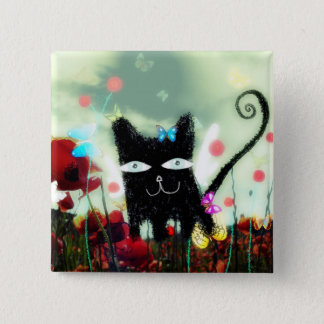 Angel cat poppy heaven Papillons lomography petite 15 Cm Square Badge