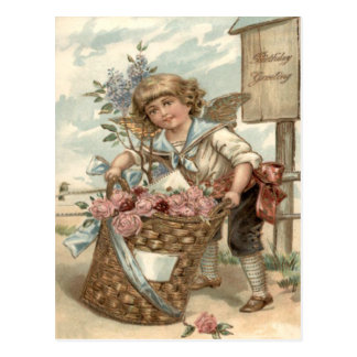 Angel Cherub Basket of Roses Birdhouse Postcard