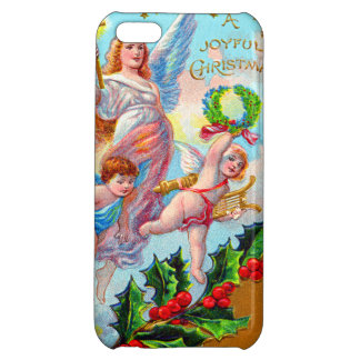 Angel Cherub Christian Cross Bell Wreath Holly Case For iPhone 5C