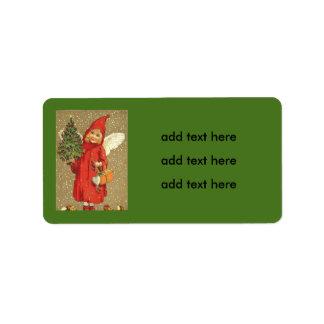 Angel Cherub Christmas Tree Snow Address Label