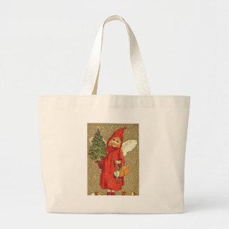 Angel Cherub Christmas Tree Snow Jumbo Tote Bag
