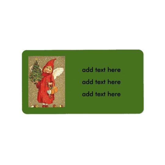 Angel Cherub Christmas Tree Snow Label