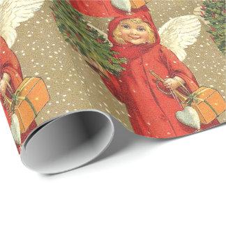 Angel Cherub Christmas Tree Snow Wrapping Paper