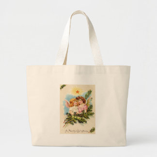 Angel Cherub Evergreen Bough Heaven Large Tote Bag