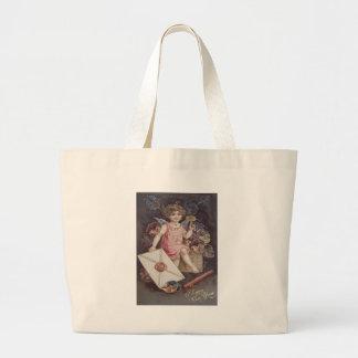 Angel Cherub Violets Letter Heart Jumbo Tote Bag