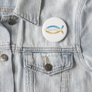 Angel Christian Fish Symbol 6 Cm Round Badge