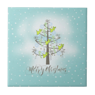 Angel Christmas Tree Blue ID197 Ceramic Tile