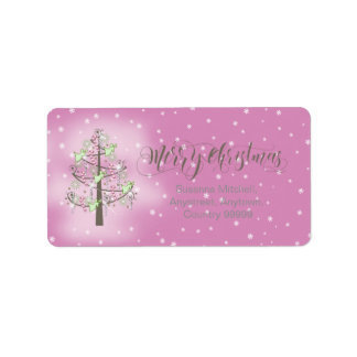 Angel Christmas Tree Orchid Pink ID197 Address Label