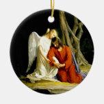 Angel Comforting Jesus in Garden Round Ceramic Decoration