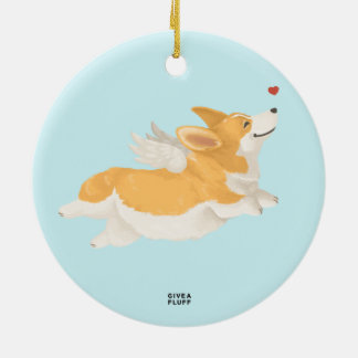 Angel Corg Ceramic Ornament