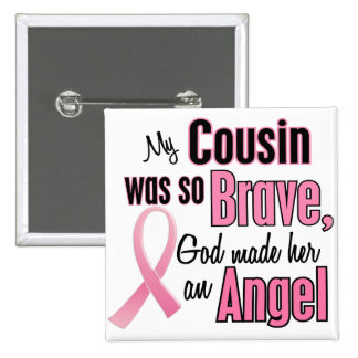 Angel COUSIN Breast Cancer T-Shirts & Gifts 15 Cm Square Badge