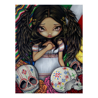 Angel de los Muertos Art Print day of the dead