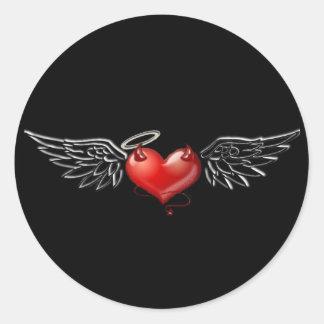 Angel devil background classic round sticker