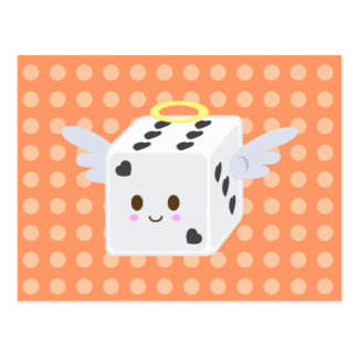 Angel Dice with Hearts Postcard