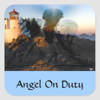 Angel Down By The Sea Square Sticker