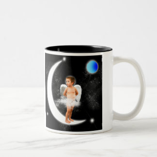ANGEL DREAMS      ON  THE MOON     STAR GAZE Two-Tone COFFEE MUG