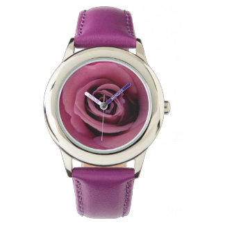 Angel Face Purple Rose Stainless Steel Watch