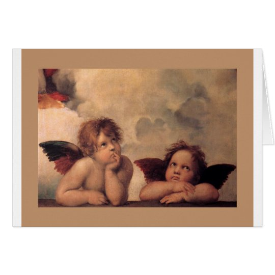 angel faith Raphael vintage old painting blessing Card