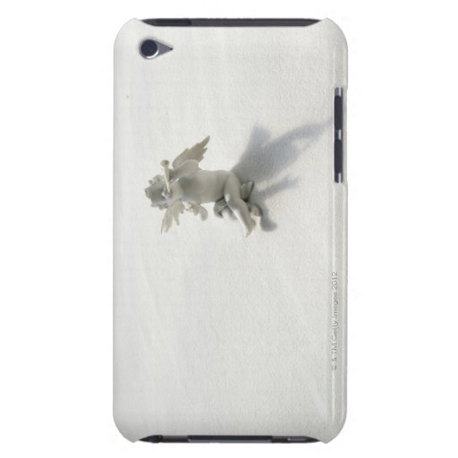 Angel figurine with musical instruments on white barely there iPod cases
