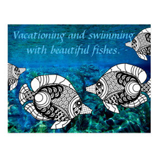 Angel Fish And Ocean Underwater Postcard