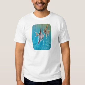 Angel fish on pretty blue background oil painting tshirts